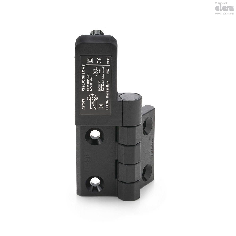 Elesa 427017 Hinges with Built-In Safety Switch C-B-S: Rear Connector Microswitch On The Left AISI 303 Stainless Steel Rotating Pin Black Matte Super-Technopolymer